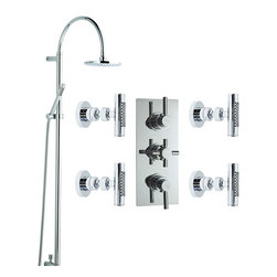 Hudson Reed - Modern Thermostatic Shower System Chrome With Rain Head Hand Spray & 4 Slim Jets - Safety comes as standard with a pre-set maximum temperature and an anti-scald device. The design of the Tec Pura shower panel's control levers is reflected in the styling of the four slim body jets and the minimalist fixed-head grand riser that diverts water either to a rain head shower or a multi-function, pencil slim handset. Indulge yourself in total showering luxury with this superb shower set.