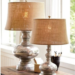 Antique Mercury Glass Table & Bedside Lamps - I don't think you can find better fall decor than this rustic combination of burlap and mercury glass. These lamps are a beautiful way to be on trend this season.