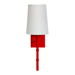 Worlds Away - Worlds Away Molly Bamboo Red Wall Sconce - A pop of color is just what your wall needs, and this cherry red sconce is the perfect modern piece to add brilliance to your decor. The bamboo detail of the base is oh-so-elegant and the sleek linen shade provides the balance that makes this light incredibly refined.