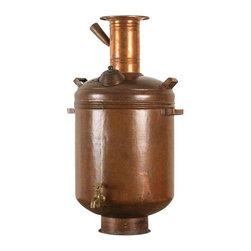 Copper Hot Water Maker or Samovar from India - Solid copper hot water maker or samovar from southern India. Coals are placed in the center of the vessel which heats the water. This piece is beautiful used decoratively, but is a fully functioning water dispenser as well! From the early 20th century.