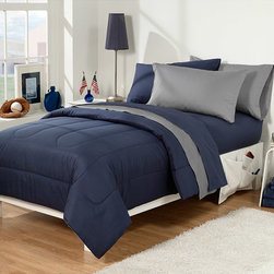 None - Navy/Grey 30-piece Twin Extra Long Dorm Room Superset - This 30-piece Dorm Room in a Bag contains everything needed to send a student to college. The set's color is navy.