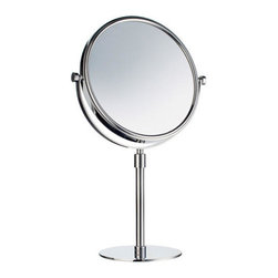 Outline Collection Vanity Table Mirror - Polished Chrome - This two-sided mirror allows you to easily move and adjust your vanity table mirror. Perfect for your cosmetic or vanity area, pair this mirror with other accessories from the Outline Collection.