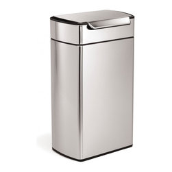 simplehuman - 40 Litre Rectangular Touch-Bar Can - No hands free? No problem! All it takes is a tap of the elbow, a bump of the hip or a nudge of the knee to open this 40-liter trash can. The lid even stays open until you're done. The tall rectangular design sits flush against the wall too, saving space.