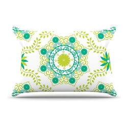 """Kess InHouse - Anneline Sophia """"Let's Dance Green"""" Teal Floral Pillow Case, Standard (30"""" x 20"""" - This pillowcase, is just as bunny soft as the Kess InHouse duvet. It's made of microfiber velvety fleece. This machine washable fleece pillow case is the perfect accent to any duvet. Be your Bed's Curator."""