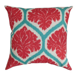 "The Pillow Collection - Priya Floral Pillow Poppy Red 20"" x 20"" - This eclectic throw pillow promises to bring your home an effortless chic look. With plenty of details combined together, this square pillow is a visually appealing. The floral pattern uses bold colors like red, blue and white to draw your attention. Lend a bold style to your living room, bedroom or guestroom with this unique accent pillow. This 20"" pillow is crafted from 100% cushy and soft cotton fabric. Hidden zipper closure for easy cover removal.  Knife edge finish on all four sides.  Reversible pillow with the same fabric on the back side.  Spot cleaning suggested."