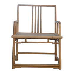 "Golden Lotus - Natural Raw Wood Square Back Armchair - Dimensions:  w29.5""x  d25.5""x  h39"" Seat Height 19.5"""