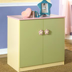 Signature Design by Ashley - Kids Multicolor Storage Cabinet w Flower Door - Color/Finish: Pastel. Soft pastel multi-colored green, lavender, pink, and yellow finish. Exaggerated traditional silhouette style for a fun look. Pink and yellow flower motif handles. Side roller glides for smooth operating drawers. 29 in. W x 18 in. D x 28 in. H