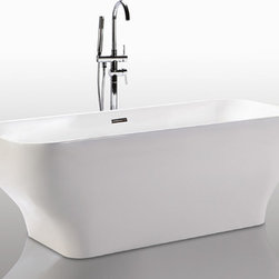 """HelixBath Taposiris Freestanding Acrylic Bathtub 67"""" White w/ Overflow - Taking design cue from the 1950's Torre Valasca modernist building, Milan Italy. Taposiris features an architecturally narrow base & dimensionally substansial upward arching body. Faucets pictured are for display purposes and not included with this tub. Designs created for bathing purists. The curves and lines are well conceived & uncomplicated. Helixbath�s well tailored soaking tubs provide an ergonomic comfortable spa experience. Featuring an easy to clean 3M Fade Resistant finish and stainless steel frame, Taposiris is the very definition of beautiful longevity."""