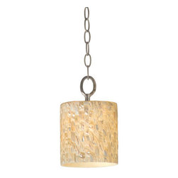 Varaluz - Varaluz 161M01 Mosaic Pearl Shade Single Light Mini Pendant Naturals Co - Contemporary / Modern Mini Pendant Contructed of Reclaimed Shells from the Naturals CollectionThey may be way too big for a necklace, but they're perfect for your room.  Appropriately, these intricate designs are crafted by a renowned jewelry maker (Can you tell?).  Natural elements of pin shell, pearl shell, yellow mother of pearl, and black mother of pearl are inlaid in patterns.  Any fixture in this collection would look dazzling in a display case.  But they really want to brighten up your living room.Features:
