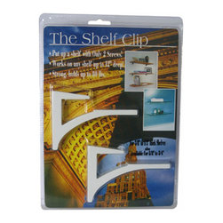 """Expo Design Inc - The Shelf Clip for 3/8""""-1/2"""" thick shelves, Gloss White - For 3/8""""-1/2"""" thick shelves (usually glass, plastics, corian TM). Simple one piece design supports a shelf with a cantilevered arch. Installs any shelf up to 12� deep with just 2 screws! Strong, extruded aluminum supports up to 80lbs also available in kits, pre packed with glass shelf."""