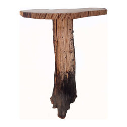 "Crafted Woods - Ancient Bristlecone Pine ""Mushroom #2"" Table Rustic Log - This wonderful accent table is part of our ""Mushroom Table"" collection. This collection is made up of slabs cut from two different half burned Bristlecone logs and a variety of hand picked bases. This color only comes from years of extreme mountain weather in the high Rocky Mountains."