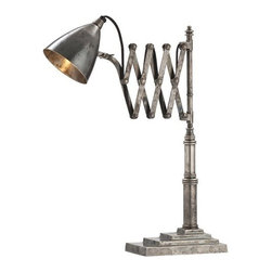 Arteriors - Arteriors Frasier Desk Lamp - Vintage silver desk lamp with accordion arm that adjusts as needed.