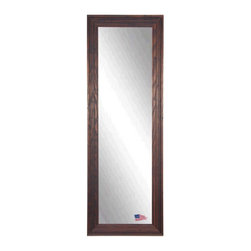 Rayne Mirrors - American Made Barnwood Brown 26.25 x 64.25 Full Body Mirror - This tall mirror is naturally distressed and beautiful with a carved wood texture.  Its dark brown and cinnamon color scheme will add a warm country charm to any space. Each Rayne mirror is hand crafted and made to order with American products.  All hardware included for vertical or horizontal hanging, or perfect to lean against a wall.