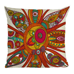 DENY Designs - DENY Designs Valentina Ramos Liora Throw Pillow - Funky-fresh style for your life.  Don't be boring - be bold with the vibrant DENY Designs Valentina Ramos Juno Throw Pillow instead! The company works with artists and art communities from all over the world to create unique home accessories for your lifestyle. Featuring a colorful mix of bright reds, oranges, yellows, blues, and whites, a concealed zipper makes it easy to remove the woven polyester cover. Brilliant color for a brilliant life.Woven polyester coverConcealed zipperCustom printed for every orderDesigned by Valentina Ramos