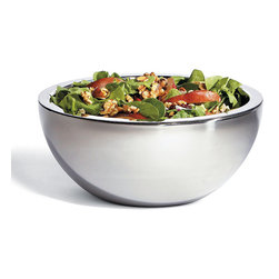 Frontgate - Super Chill 4-Quart Bowl - Double-walled 18/8 stainless steel provides maximum cold retention. Gel-based inner layer freezes like ice and holds its temperature. Won't leave messy water rings on tabletops or fine furnishings. Condiment Server comes with clear plastic lids. 4-Quart bowls include black silicone lids. Our Super Chill Insulated Servers are prized for their polished presence and superb temperature regulating abilities at your buffet table. Designed to keep foods perfectly chilled for several hours without ice or condensation, the gleaming, seamless serveware is ideal for summer socials staged outdoors or indoors..  . . . . Place in a freezer prior to use. Outdoor or indoor use. Hand wash (view instructions).
