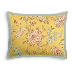 Yellow Delicate Floral Custom Sham - Stay classy, America!  Add a few Tailored Shams with crisp solid edging to create a bedset with the perfect mix of contemporary style and classic elegance. We love it in this transitional floral in sunny yellow with springy pinks and greens on soft breezy linen.  The perennial favorite floral of Loom Stylists and clients alike!