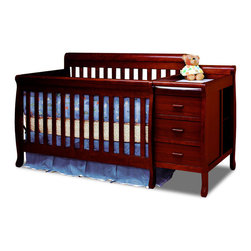 AFG Baby Furniture - Kimberly Convertible Crib And Changer Cherry - A versatile concoction of the popular crib and changer, the Kimberly 3 in 1 Convertible Crib and Changer Combo combines both elements into one piece of furniture that serves as the perfect baby station for the space-conscious family. This beautiful and durable crib is made from solid pine hardwood and an easy-to-care non-toxic finish.
