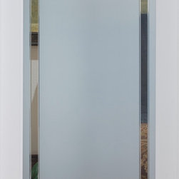 9-Lite Obscure Decorative Glass Door - The 9 Lite Obscure glass features a solid frosted glass panel with an etched and grooved border in a prairie style pattern. The elegant border, combined with the frosted glass, offers beauty and obscurity. This glass door is offered in a variety of 9 wood species to compliment any interior including:  primed white, pine, oak, knotty pine, fir, maple, knotty alder, cherry and African mahogany.  Optional 8-foot tall doors are available in primed white and pine species only.