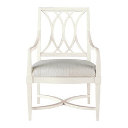 Stanley Furniture - Coastal Living Resort Heritage Coast Arm Chair (Sail Cloth) - Finish: Sail Cloth. Slightly curved arms. Cottage style. Super comfort seat. Solana sand fabric. Seat height: 19.25 in.. Arm height: 25 in.. Made from select hardwood solids and American white oak veneers. 21.75 in. W x 25.5 in. D x 38 in. H (31.8 lbs.)Substantial seems to be the best way to describe the Heritage Coast Arm Chair. Taking the swells of the ocean as the inspiration for its form and grounding, the chair creates a satisfying and restful seat. Whether used at the head of a table or behind a desk, the Heritage Coast Arm Chair takes your comfort seriously.