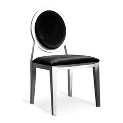 Armani White Lacquer Dining Chair - Chairs come in either white or black high gloss lacquer finish with black fabric upholstered back and seat.