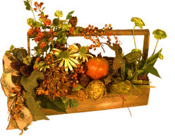 Adornments Home - Rustic Silk Floral Centerpiece - This beautiful rustic silk floral centerpiece with its colors of rust, green, orange, and yellow will be the perfect compliment to almost any table setting. With a variety of flowers, including berries, pine cones, a pomegranate, artichoke, and a beautiful bow of moss green burlap in a wooden container with handle. My floral are all one of a kind creations, no one else will have this piece, I don't assembly line my products, each one is a unique work of art full of flowers, not filler.
