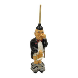 Funny 'Pants Down' Butler Toilet Paper Holder - A butler's work is never done. This standup 'Pants Down Butler' toilet tissue holder adds a great touch of whimsy to any bathroom. Made of cold cast resin, it features a single roll holder in the butler's hand, and the stick of the plunger on the butler's head holds backup rolls. The piece is 41 inches tall (including the plunger stick), 10 inches wide and 10 inches deep. It makes a great gift for any one with a big bathroom and a sense of humor.