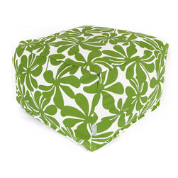Majestic Home - Outdoor Sage Plantation Large Ottoman - Add a little character to your living room or patio with the Majestic Home Goods Large Ottoman. This Ottoman is the perfect accessory to add comfort and style to any room while functioning as a decorative foot stool, pouf, or coffee table. Woven from outdoor treated polyester, these ottomans have up to 1000 hours of U.V. protection and are able to withstand all of natures elements. The beanbag inserts are eco-friendly by using up to 50% recycled polystyrene beads, and the removable zippered slipcovers are conveniently machine-washable.