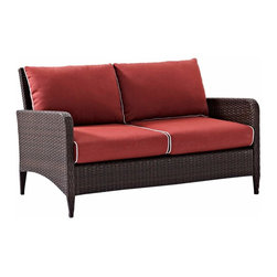 """Crosley - Kiawah Outdoor Wicker Loveseat With Sangria Cushions - Dimensions:  32"""" H x 52.5"""" W x 30"""" D"""