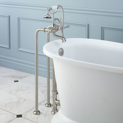 Freestanding Telephone Tub Faucet, Supplies & Drain - Lever Handles - This all-in-one kit includes the tub filler, water supply lines and an overflow drain.
