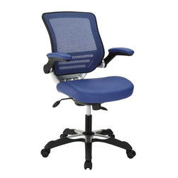 Modway - Edge Leatherette Office Chair in Blue - Welcome to a new era in functional comfort. The Edge office chair combines old time charm with cutting edge ergonomics to deliver one comprehensive seating experience. Every feature imaginable in a chair is available as soon as you sit down. This is a chair that you can conform to behave exactly how you need it.The Edge Office Chair giving you the comfort you need when you need it most.