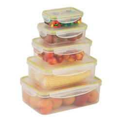 Snap-Tab 5 Piece Food Storage Set - Honey-Can-Do KCH-03829 5-Piece Locking Food Container Set, Clear. This 5-piece set of food storage containers is perfect for storing leftovers, make-ahead meals and on-the-go lunches. Each container is 100 percent air and water tight. The set includes one 0.24L container, one 0.5L container, one 1.5L container, one 2.5L container, and a single 1L container. Dishwasher, microwave and freezer safe. When using in microwave, open closure clips on each side and open corner of lid to vent. Not for use in ovens, under broilers or on stove-top. BPA Free.