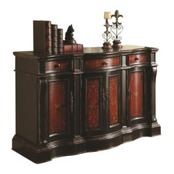 "Coaster - Accent Cabinet (Rubbed Black) By Coaster - Traditional style. Three drawers. Four doors. Intricate gold foliage design. Capital bracket feet and columns. Made from wood and veneers. Antique black finish. Made in USA. 57.5 "" W x 20 "" D x 36.5 "" H.  Uses this beautiful decorative piece in your hallway, living room or office. Ample space on the serpentine top for displaying photographs, vases, flowers or other decor items. With so much prestige and classic inspiration, your home is sure to emulate a traditional, antique feel."