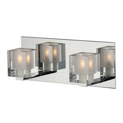 ET2 Lighting - Blocs 2-Light Wall Sconce - The wall sconce, reinvented to illuminate your favorite setting in a whole new way. Here, glass blocks containing xenon bulbs are mounted on a reflective polished chrome base to glorious yet subtle effect.
