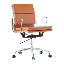 Kardiel Classic 1958 Executive Soft Pad Mid Back Aluminum Office Chair, Raw Umbe - The iconic office chair series from which this Kardiel Lider Mid Back reproduction takes its inspiration, was originally developed in 1958. The seat and back rest is made of a continuous single section of leather upholstery stretched taut between two metal ribs. This allows it to subtly conform to the shape of the user's body and makes it comfortable for long periods of sitting. Upgraded Italian leather was selected for the upholstery of this reproduction.  None of the details were overlooked, from the distance of the ribbed stitching to the period correct Atomic metal ball of the height adjusting lever. We understand and offer you the intricacies of the original office series design in this quality reproduction.