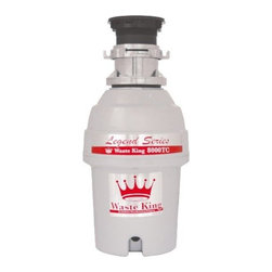 Waste King - 1 HP, 2800 RPM, 10 Year Warranty - The Waste King 8000TC Legend Series 1-HP EZ-Mount Batch-Feed Garbage Disposer is one of the best food disposers on the market. Batch-feed operation means no wall switch needed! with a high-speed 2800 r.p.m. Vortex powered permanent magnet motor, this disposer can efficiently get rid of your food waste. It is also sound insulated for quiet operation. It includes a removable splash guard that aids in internal inspection and can be easily cleaned. This disposer is septic safe for properly sized septic tanks, making it environmentally friendly. The fast and easy mount system provides a no-hassle installation and is suitable for dishwasher hookup. Sound insulated, batch-feed garbage disposer (No wall switch!)