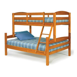 Chelsea Home - Twin Over Full Bunk Bed - NOTE: ivgStores DOES NOT offer assembly on loft beds or bunk beds. Mattresses not included. Rustic style. Hand finished stain with three step process to compliment natural wood grain. Rails connect to bed ends by metal to metal machine bolt and t-nut for secure hold. Tested by Federal Safety Standards which require 400 pounds to be placed in top bunk on top of mattress foundation. Meet and exceed all of the following rules: ASTM F-1427-07, CFR 1213, CFR1513 and lead testing. Weight capacity: 250 pounds. Constructed for strength and durability. Warranty: One year. Made from solid pine wood. Honey finish. Made in Brazil. Assembly required. 80 in. L x 56 in. W x 68 in. H (148.5 lbs.). Bunk Bed Warning. Please read before purchase.Warning: Falling hazard, bunk beds should be used by children 6 years of age and older!