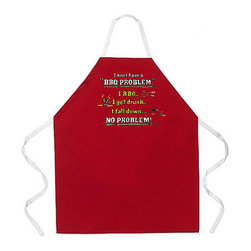 Attitude Aprons - Attitude Aprons 'BBQ Problem' Red Apron - Spice up your life with a little attitude with this apron from Attitude Aprons. This charming apron will liven up your day with a quick smile,with an amusing print on the front and a polyester and cotton blend construction.