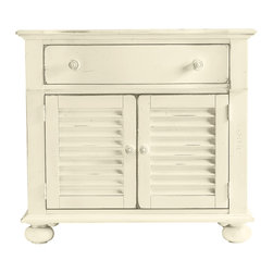 Stanley Furniture - Coastal Living Cottage Summerhouse Chest - One drawer, two shutters and a coastal state of mind. Nestled bedside, its clean lines and crisp moldings play quiet counterpoint to soft linens and an early sunset. Doors conceal an adjustable shelf and enclosed electrical outlet. Made to order in America.