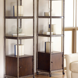 """Hammary - Structure Etagere in Heavily Distressed Brown Finish - There is beauty in simplicity. And seldom does furniture possess more effortless beauty than Hammary's new """"Structure"""" collection. We have stripped away the excesses of modern design and focused on the bare essentials to produce an 11-piece collection that pays tribute to the precision and straightforward creations of the industrial age. Inspired by the stark, utilitarian designs from the early 20th Century, these pieces are crafted from metal and birch veneers and cleverly incorporate materials such as pipes, rivets, scythed wood, wheels and metal banding. Table tops are banded in metal - an idea borrowed from heavy-duty industrial trolleys - to create a unique touch of style and to enhance durability. Meanwhile, the heavily distressed finish creates a well-worn feel that will transform any room. This versatile group includes occasional tables and home office pieces, as well a media console and a rolling desk chair. Especially interesting is the vintage artist's easel, which comes with a universal mounting plate and has been repurposed to hold a flat-screen TV. Sometimes, sophistication comes in the most simple of designs. """"Structure"""" from Hammary. Simply beautiful.; Structure Collection; Finish: Heavily Distressed Brown; Castered; 1 Door W15 D15-1/2 H15; 3 Fixed Shelves: W18 D16-1/2 H15-1/2; Weight: 100 lbs.; Some assembly required; Dimensions: Shelf and Frame: 20""""W x 17. 5""""D x 72""""H; Legs: 20""""W x 17. 5""""D x 1""""H"""