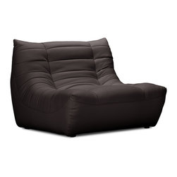 ZUO MODERN - Carnival Single Seat Espresso - Like curling up in someone's arms, the Carnival sectional set is wrapped in a soft leatherette, padded and tufted in all the right ways. Comes in espresso, black and white.
