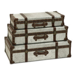 Brown and Gray Galvanized Trunks Suitcase Style- Set of 3 - *Galvanized metal trunks make a great storage option and add an industrial style that looks great with a variety of Decor.