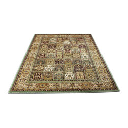 Rug - ~5 ft. x 8 ft. Authentic Persian Green Modern Living Room Area Rug - (Machine Made) MONA LISA COLLECTION: