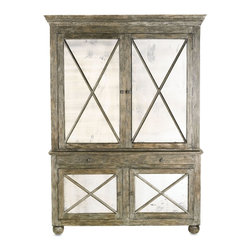 """Currey & Company - Charleston Cabinet - This versatile, textured cabinet with intricate antiqued mirrors can be used alone as a buffet or sideboard or together with it's matching top to be a tall cabinet. Two drawers and two cabinets with an adjustable shelf provide plenty of storage. Cabinet doors are beautifully accented with wooden X's. Crafted from wood, slight variations in tone and texture are common. All surfaces are protected by natural wax coating. Wipe spills immediately with soft dry cloth. Always use coasters or mats. Never place cups, glasses or anything hot directly on the surface. This could cause discoloration. Avoid positioning your furniture near a source of direct heat. Wood is """"living"""" and changes in temperature can result in cracking. We recommend placing the piece a minimum of three feet from any heat source. For everyday care, dust with a clean dry cloth."""