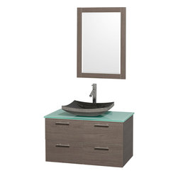 Wyndham - Amare 36in. Wall Vanity Set in Grey Oak w/ Green Glass Top & Black Granite Sin - Modern clean lines and a truly elegant design aesthetic meet affordability in the Wyndham Collection Amare Vanity. Available with green glass or pure white man-made stone counters, and featuring soft close door hinges and drawer glides, you'll never hear a noisy door again! Meticulously finished with brushed Chrome hardware, the attention to detail on this elegant contemporary vanity is unrivalled.