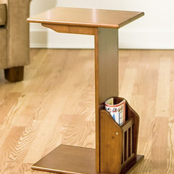 """Holly & Martin - Holly & Martin Upton Magazine Snack Table in - Slide this convenient walnut finished magazine table up to the arm of your chair or sofa and enjoy a snack while reading or watching your favorite shows. This piece features an open three sided rectangle design, and has a smooth table surface and lower slatted storage for periodicals. * Made of solid rubberwood. Solid rubberwood construction. Some assembly required. 15 in. W x  11 in. D x 24 in. HCrafted from solid Asian hardwoods with a rich walnut finish, this handy snack table makes an ideal accent piece for the living room, playroom, or even bedside. The """"C"""" shape allows this unit to be nestled up against the couch as a drink, snack, remote, or book holder while the back side hosts a useful magazine holder. This wonderfully useful table is a smart addition to any home."""