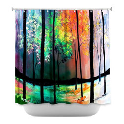 DiaNoche Designs - Shower Curtain Artistic - The Four Seasons - DiaNoche Designs works with artists from around the world to bring unique, artistic products to decorate all aspects of your home.  Our designer Shower Curtains will be the talk of every guest to visit your bathroom!  Our Shower Curtains have Sewn reinforced holes for curtain rings, Shower Curtain Rings Not Included.  Dye Sublimation printing adheres the ink to the material for long life and durability. Machine Wash upon arrival for maximum softness. Made in USA.  Shower Curtain Rings Not Included.