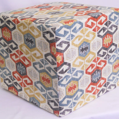 "Dorm Collection - Small Spaces - Kim Bryant - This is called a Pouf Ottoman, but it's so much more! Folks are using our poufs for desk chairs, end tables, laptop desks, foot stools, coffee tables and whatever we haven't thought of yet. They are made with high density foam that will hold an adult up to 250lbs.. Fabric for each pouf is carefully selected, so that no two exactly alike. You will have a handmade product that is just for you. The dimensions of each pouf are 18"" square and 18"" tall, just tall enough to sit comfortably at a desk or table. Custom fitted, muslin linings are hand sewn and provide a finished foundation for the pouf cover. Covers are machine sewn and finished with a velcro enclosure for easy removal and cleaning. Stay tuned for this dorm collection this year as we have more things to look forward to."