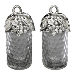 Arthur Court - Grape Salt and Pepper Set - Shake things up at your next dinner party by passing the salt (or pepper) in wine-country style. Each shaker is made of dimpled glass that's fitted with a cluster of grapes cast from aluminum.