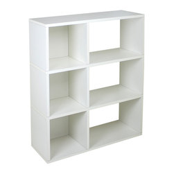 Way Basics - Sutton, White - This no-fuss modern shelving unit is all about simplicity, from assembly to functionality to style. Attach your modular shelves instantly with a super-strong adhesive tape — no diagrams or pegs! The combination of open-backed shelves and enclosed cubes gives you a range of storage possibilities. Made from recycled paper, the unit is lightweight, non-toxic and ecofriendly. What's not to like?