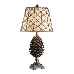 Lamps Plus - Crestview Collection Pine Bluff Pinecone Table Lamp - Add this realistic large pinecone table lamp to a rustic or sophisticated urban decor. This rustic table lamp features an intricately sculpted pinecone in natural pinecone finish. Set atop a square base, the design is completed with a distinctive oatmeal linen shade adorned with a wide natural rattan mesh. Revitalize your decor with this wonderful piece from Crestview Collection lighting.